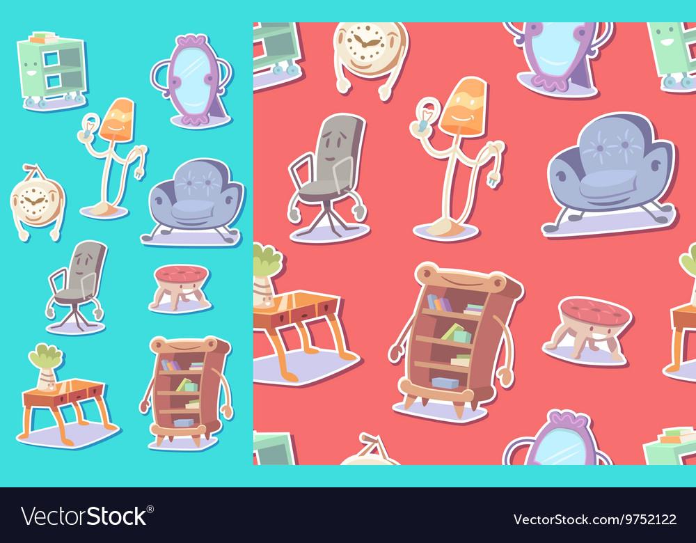 Cute furniture seamless pattern