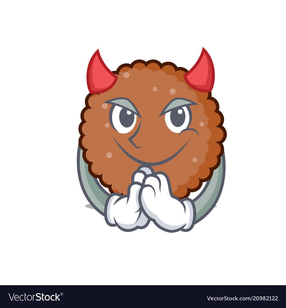 Devil chocolate biscuit mascot cartoon