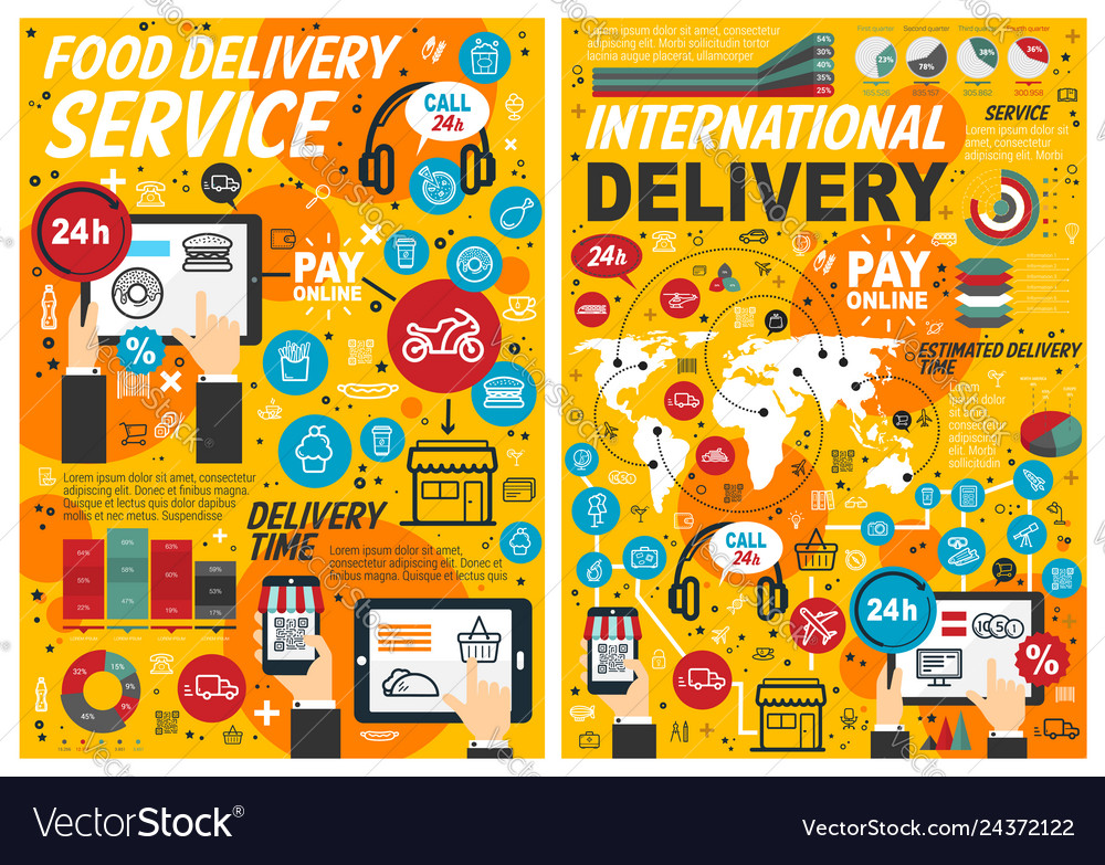Fast food online delivery service infographics