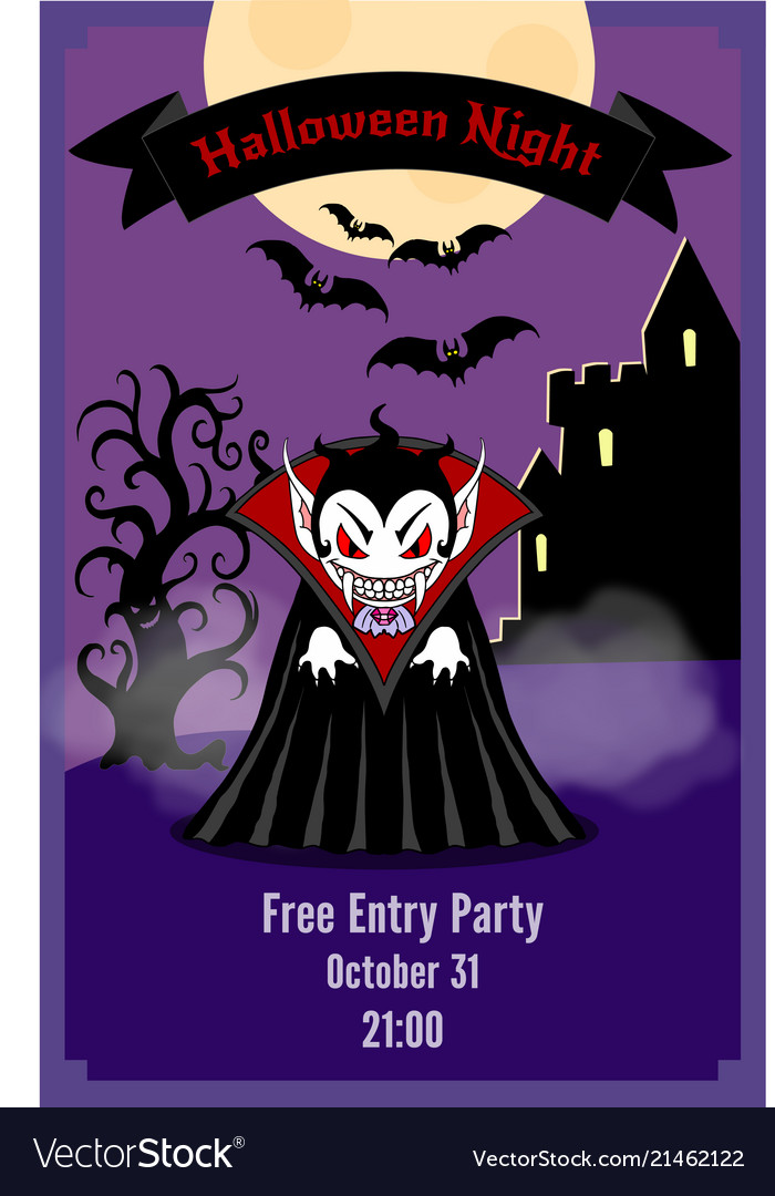 Halloween party flyer with dracula Royalty Free Vector Image