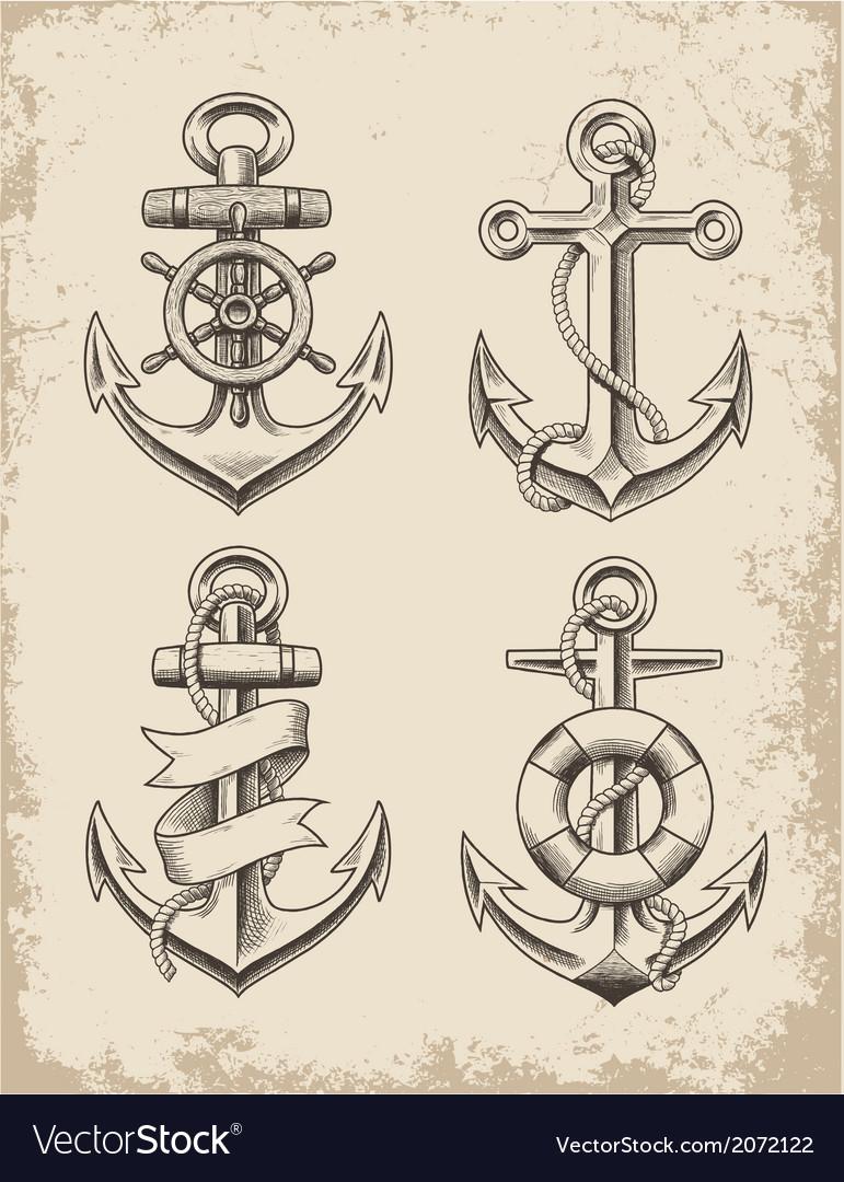 Hand Drawn Anchor Set vector image