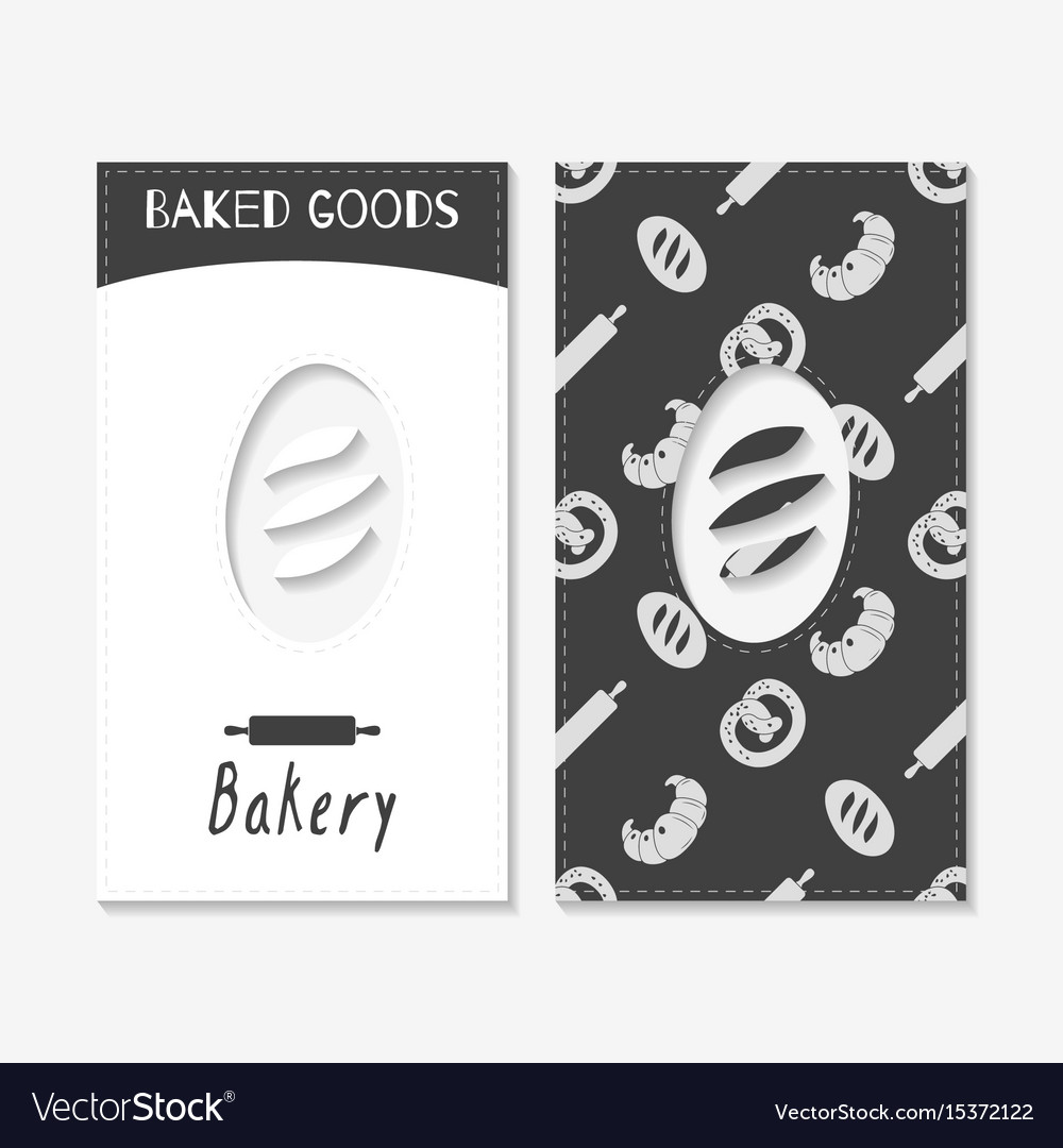 Hand drawn silhouettes bakery business cards vector image