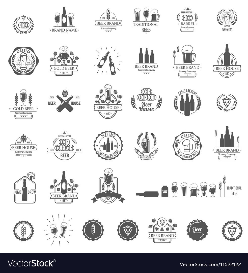 Logos for beer house bar or pub
