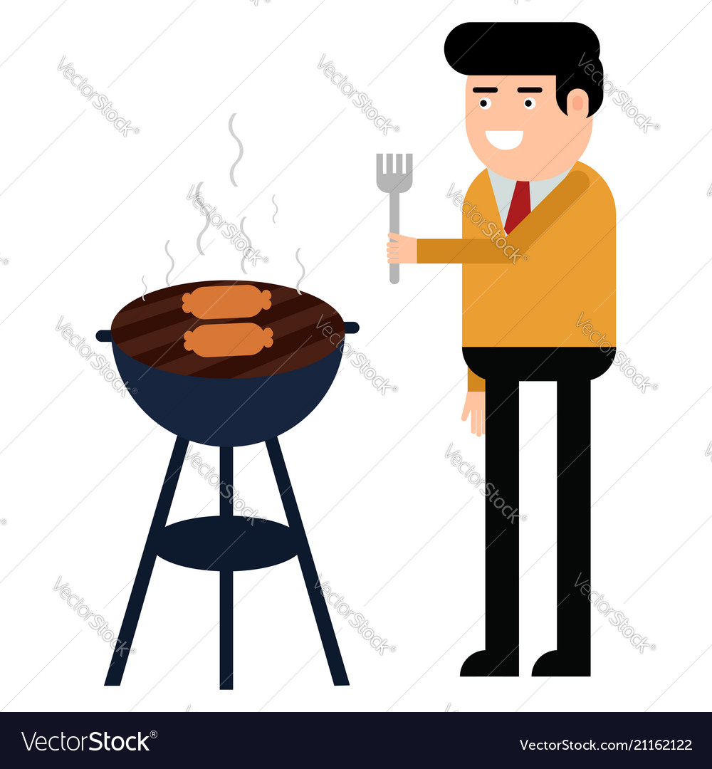 Man is cooking a barbecue grill fry meat and