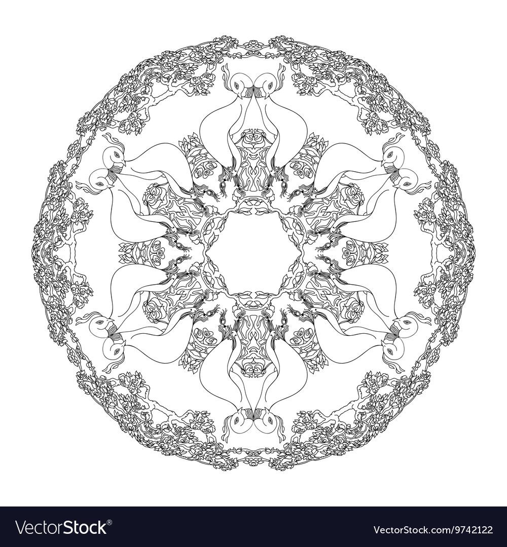 Mandala shaped contoured birds flowers leaves