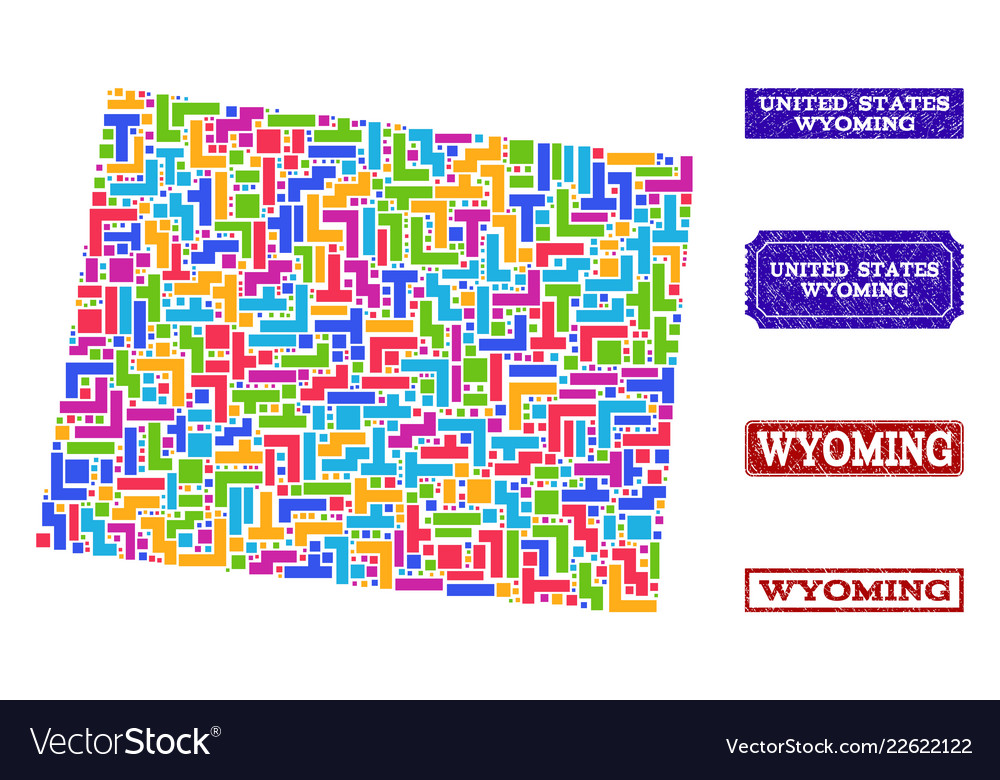 Mosaic map of wyoming state and grunge seals Vector Image