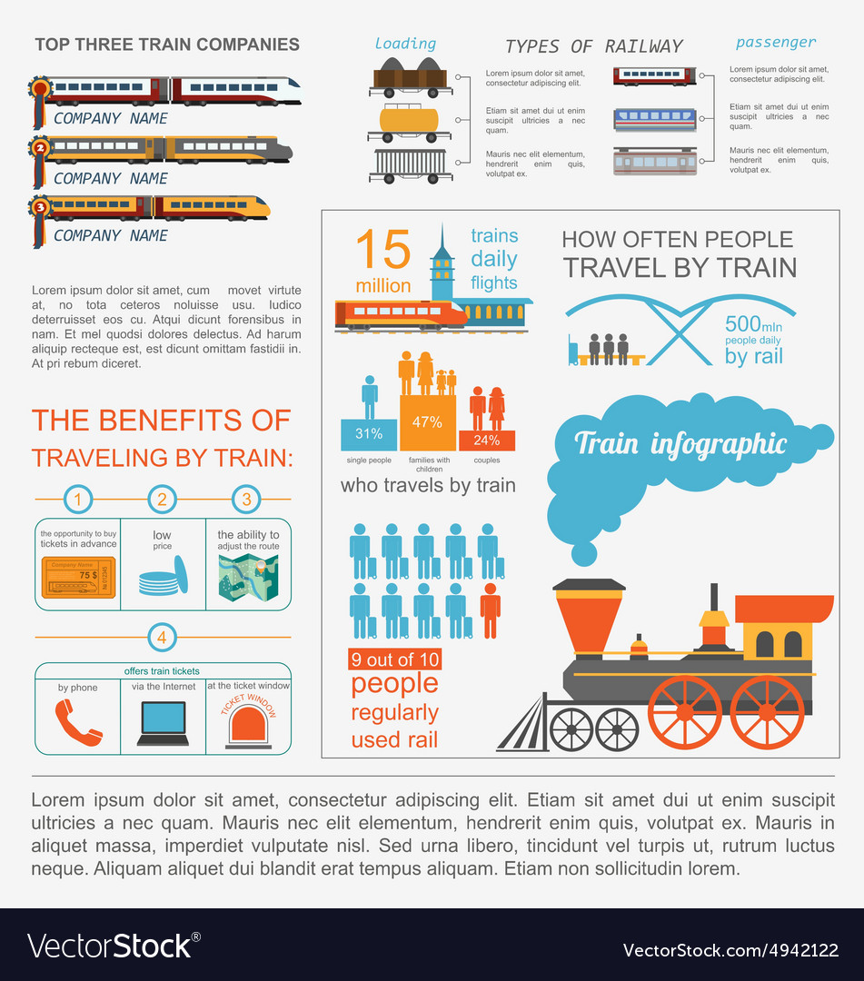 Railway infographic Set elements for creating your
