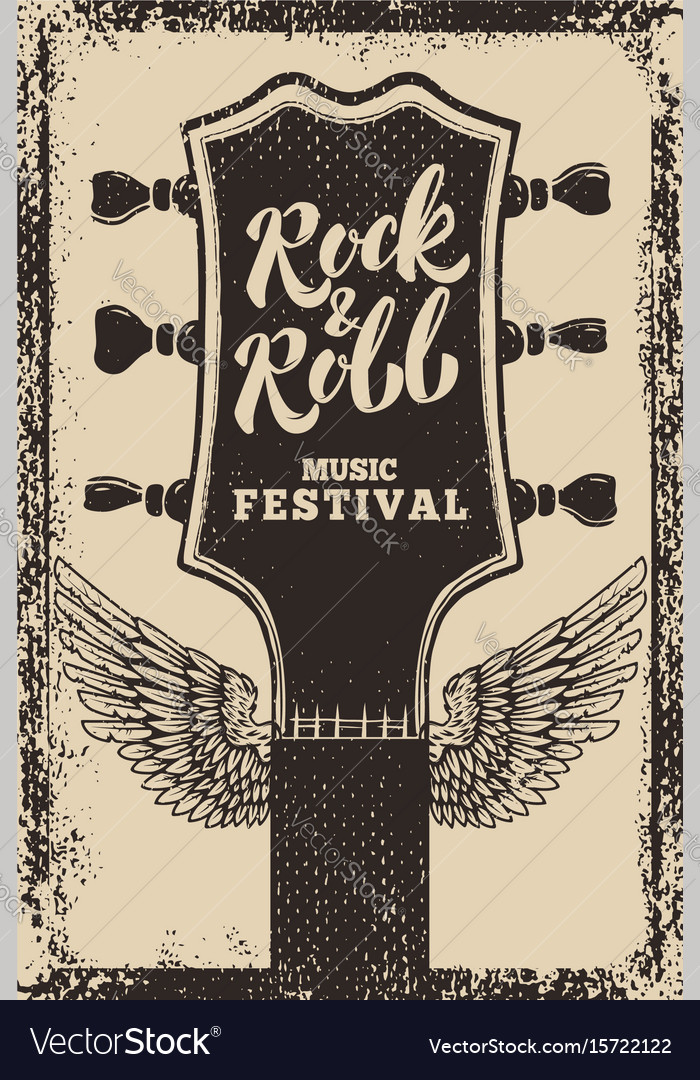 Rock and roll festival poster template guitar