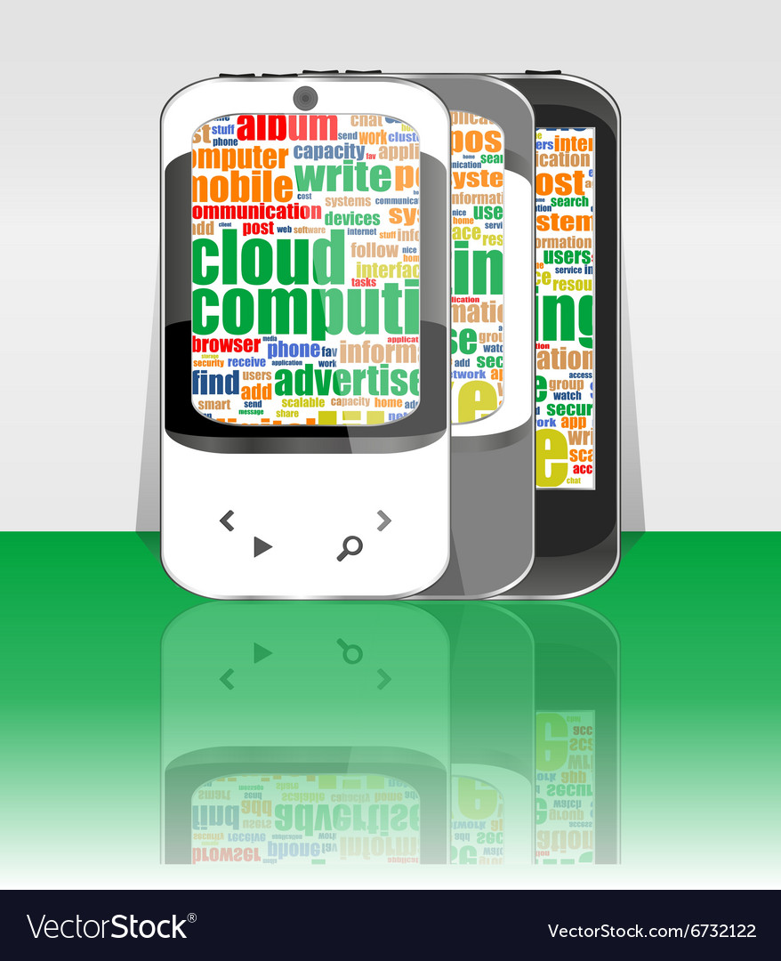 Touchscreen smart phone set with social word cloud