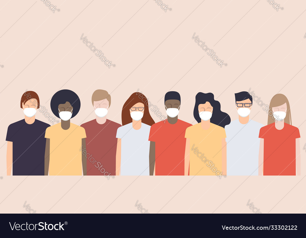 Various young people wearing medical protective