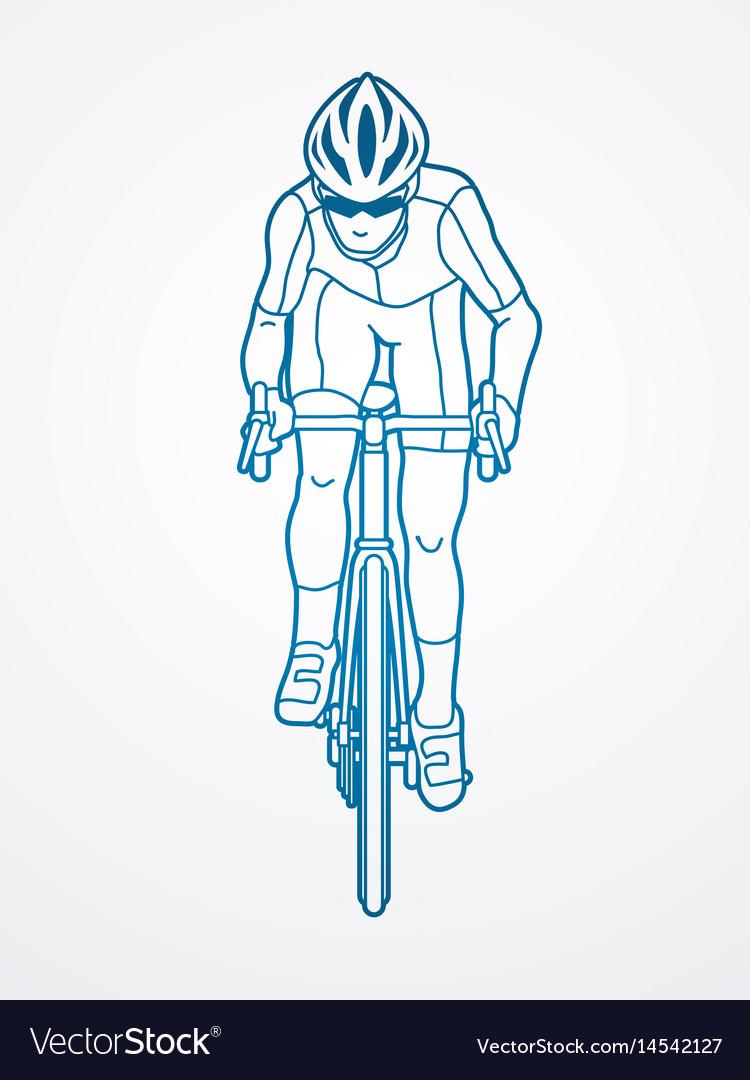 Bicycle riding front view sport man biking