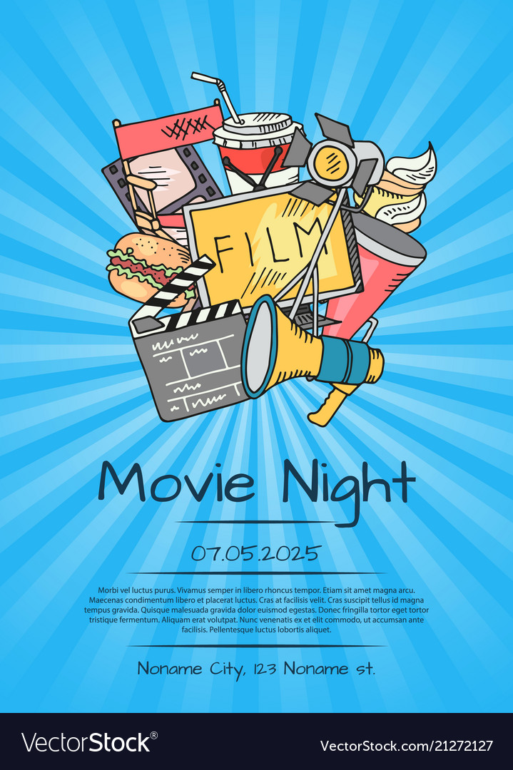 Cinema icons poster for movie night or
