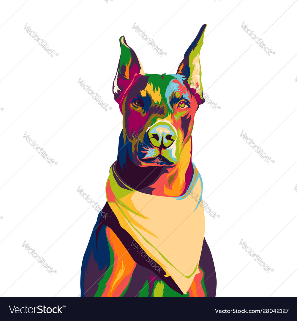 Doberman dog colorful pop art