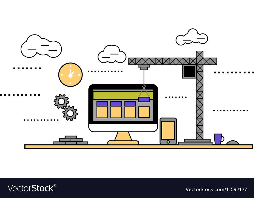 Flat design construction web site
