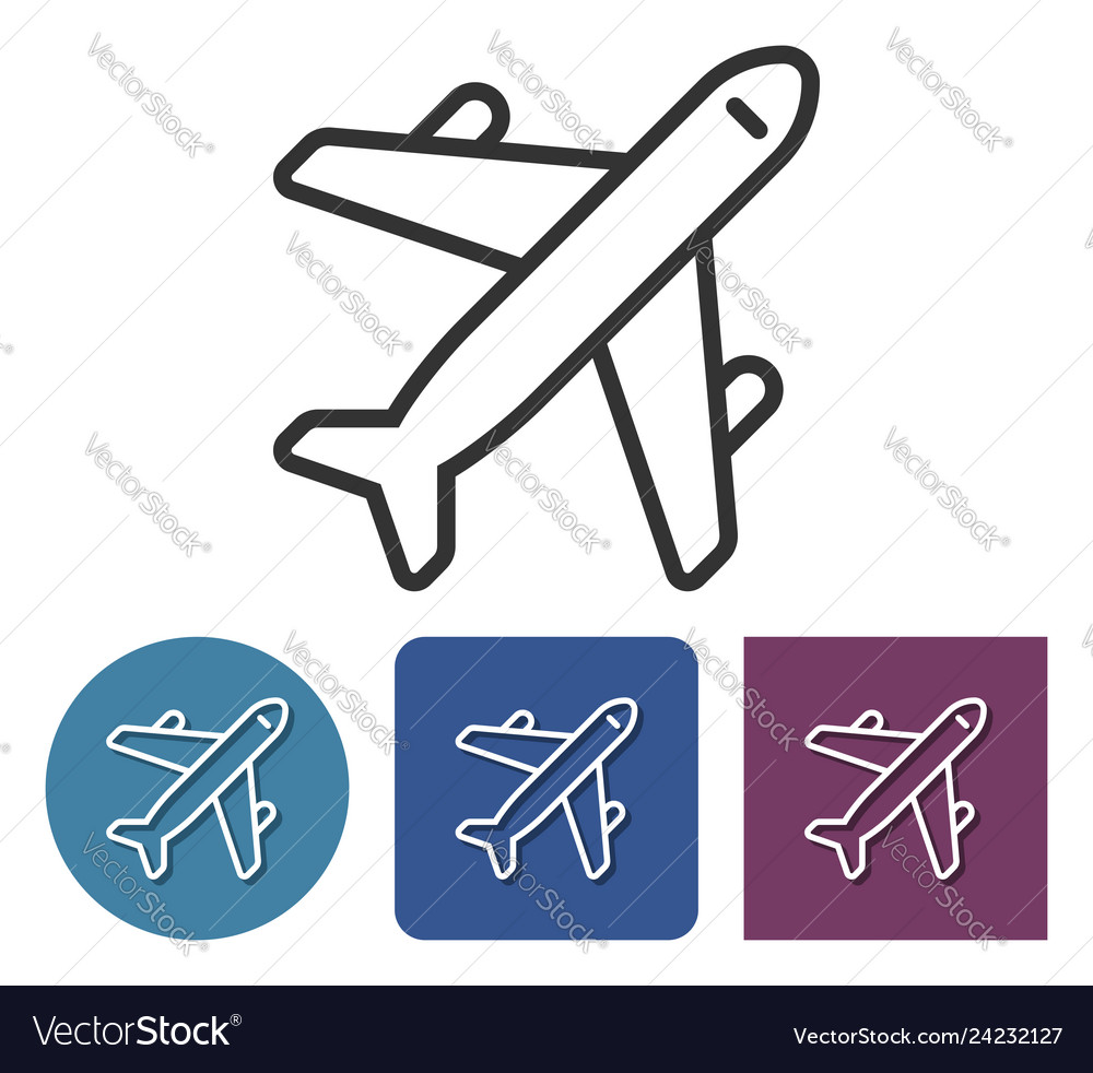 Line icon of plane in different variants