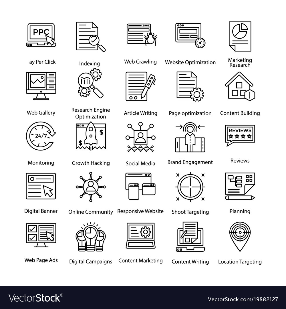 Line icons set of internet and digital marketing