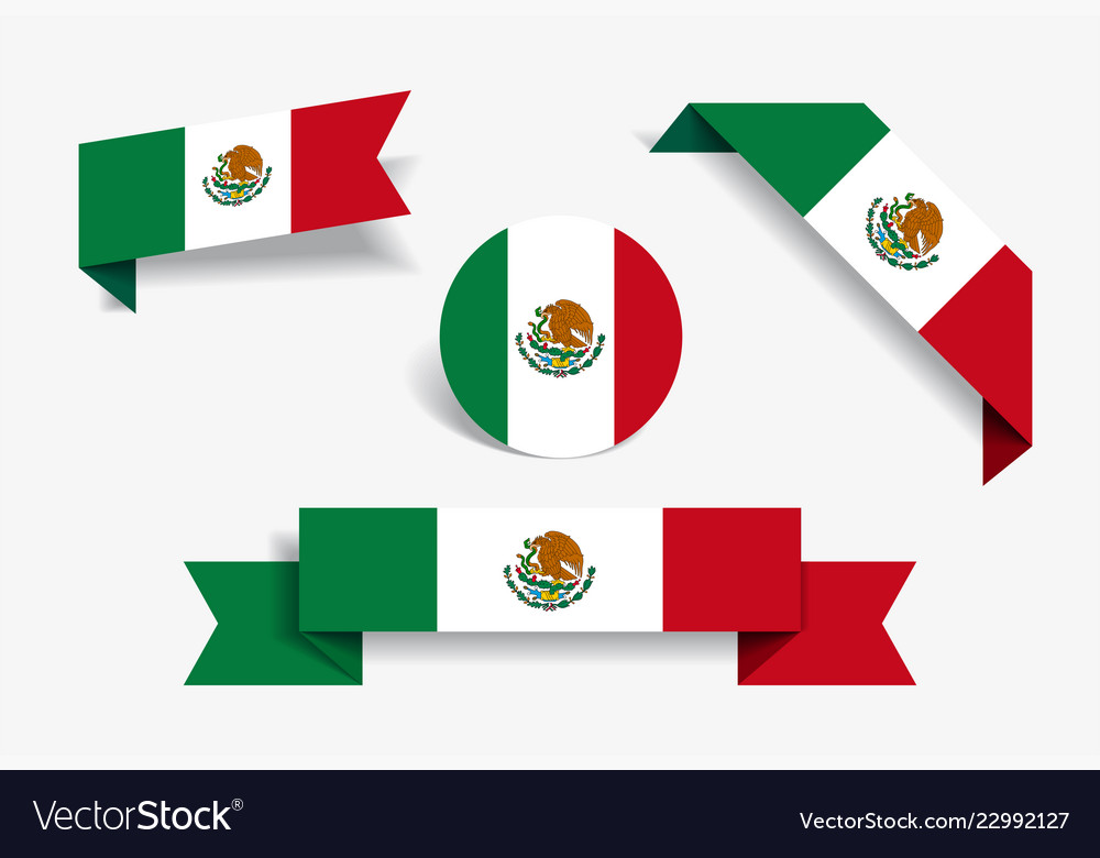 Mexican flag stickers and labels