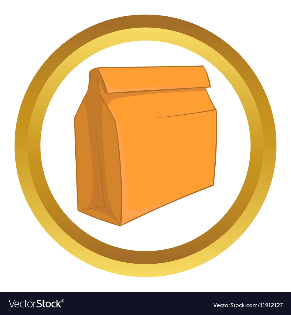 Paper bag with lunch icon vector image
