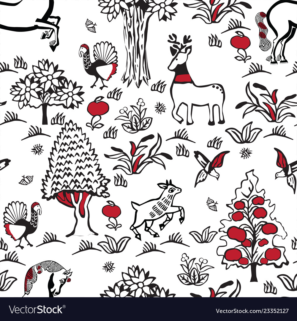 Pattern with russian folklore
