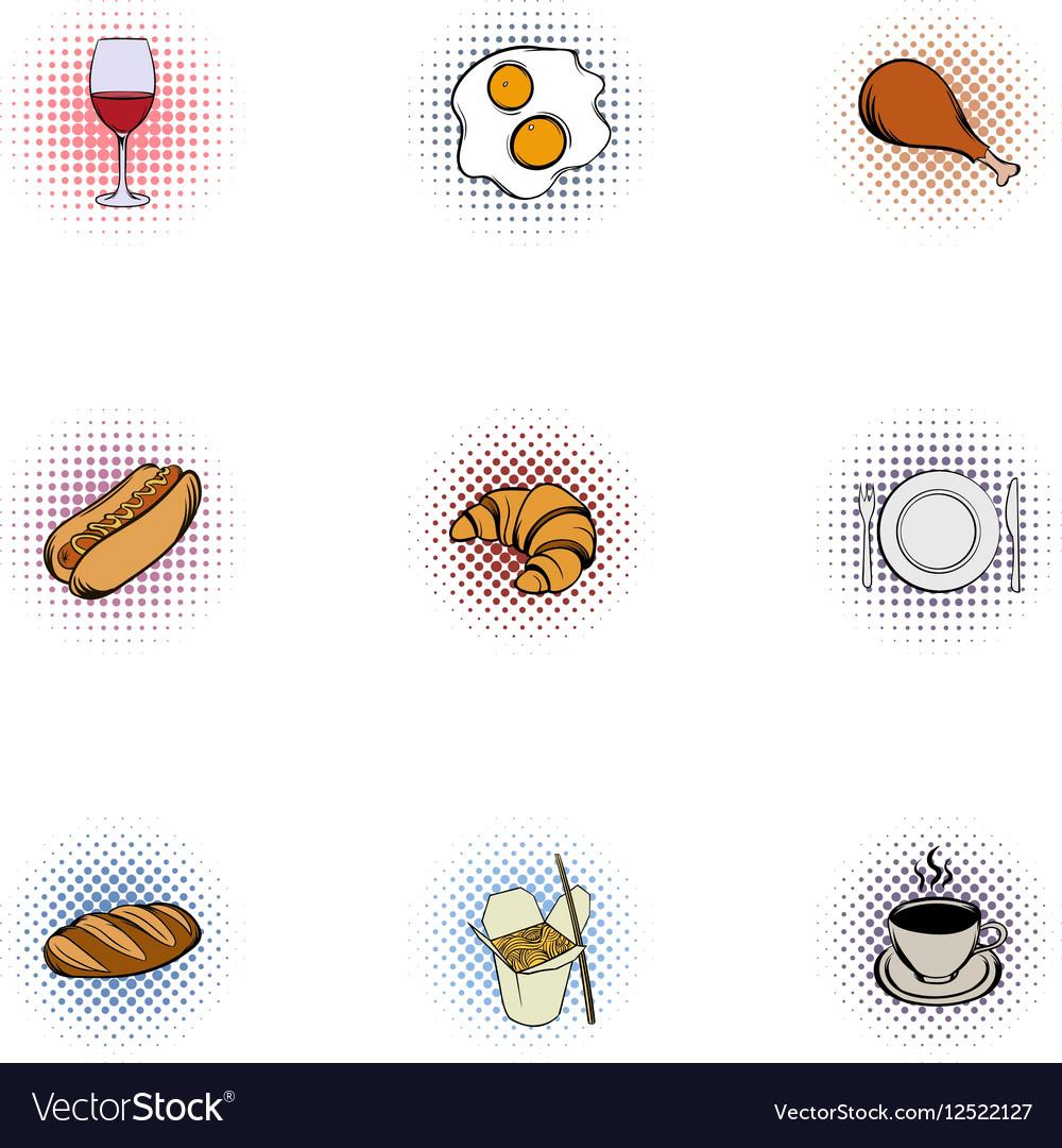 Quick snack icons set pop-art style