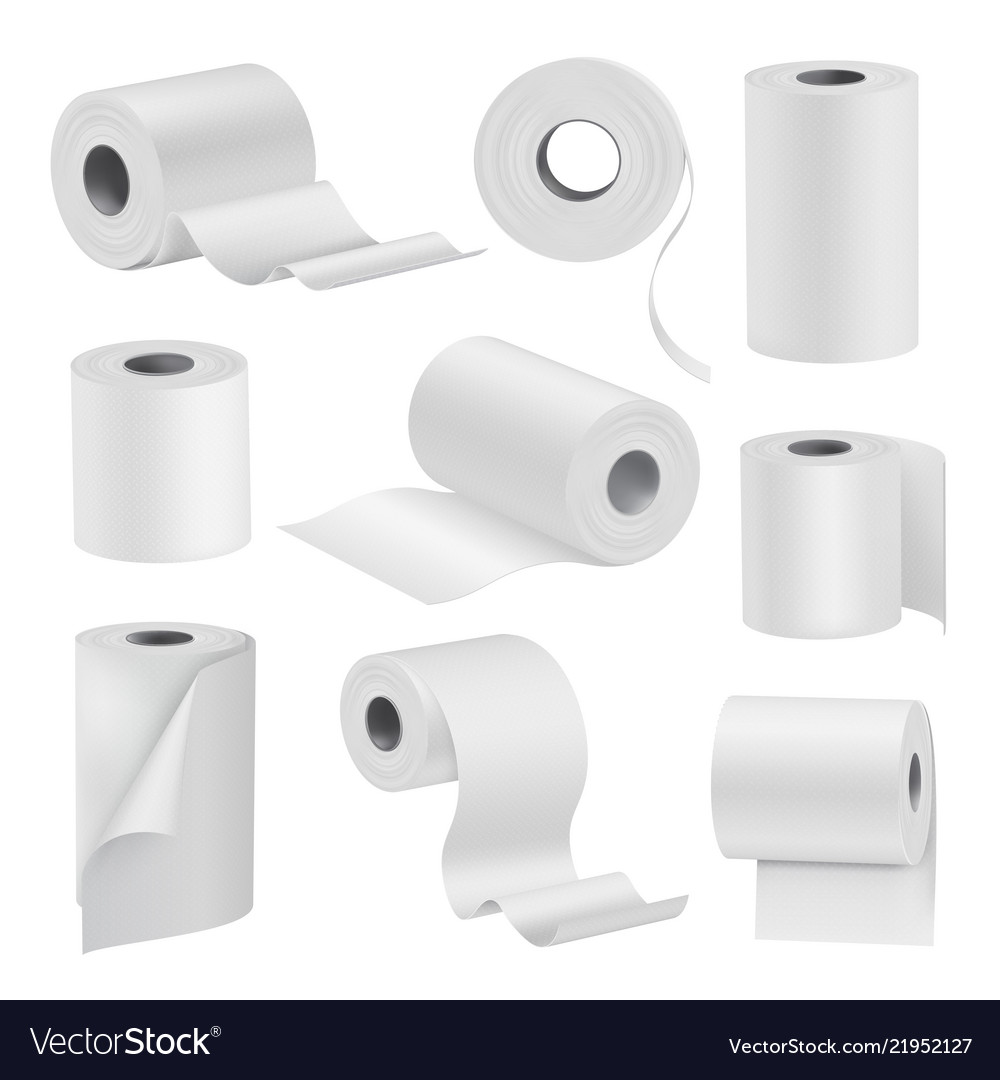 Realistic toilet paper in rolls white set
