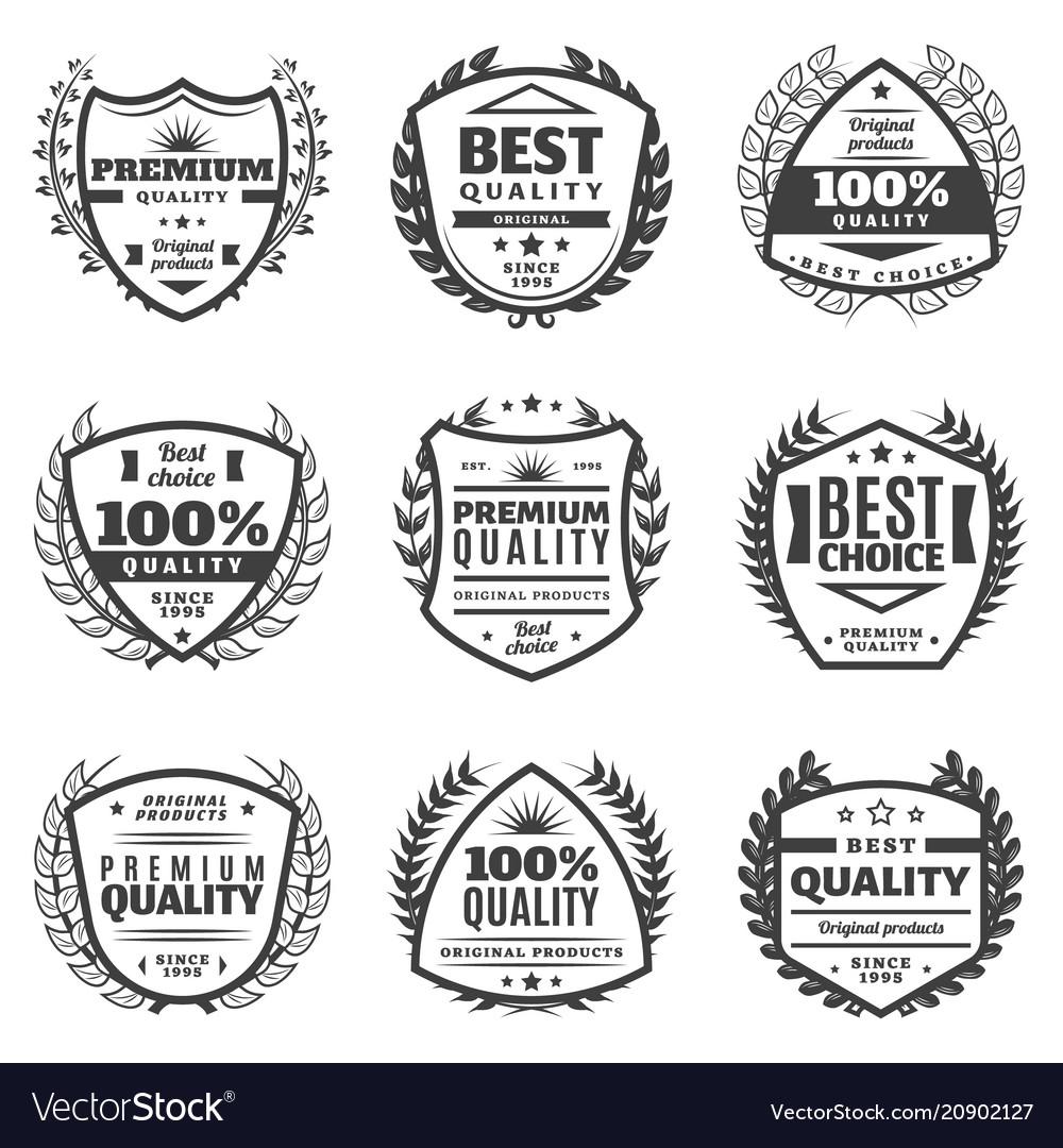 Vintage monochrome advertising labels set
