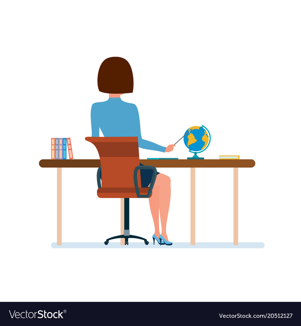 Young teacher at her desk working at laptop with vector image