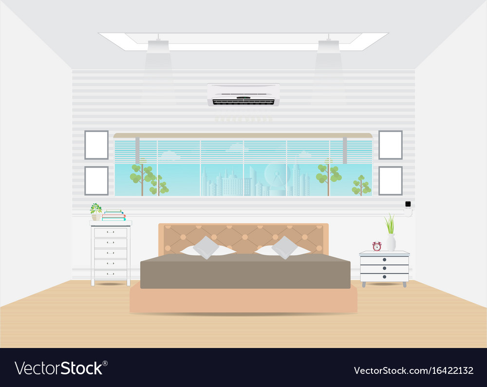 Bedroom with double bed and furniture vector image