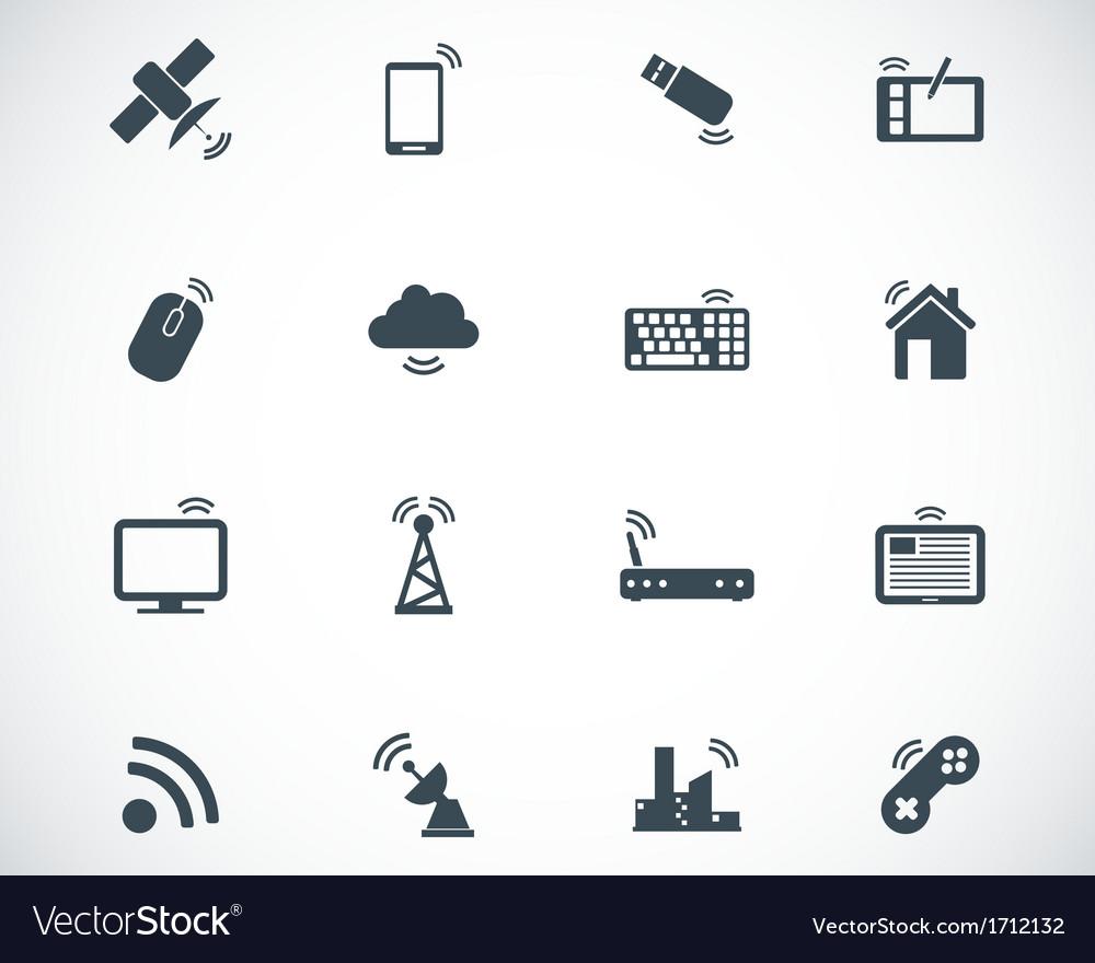 Black wireless icons set