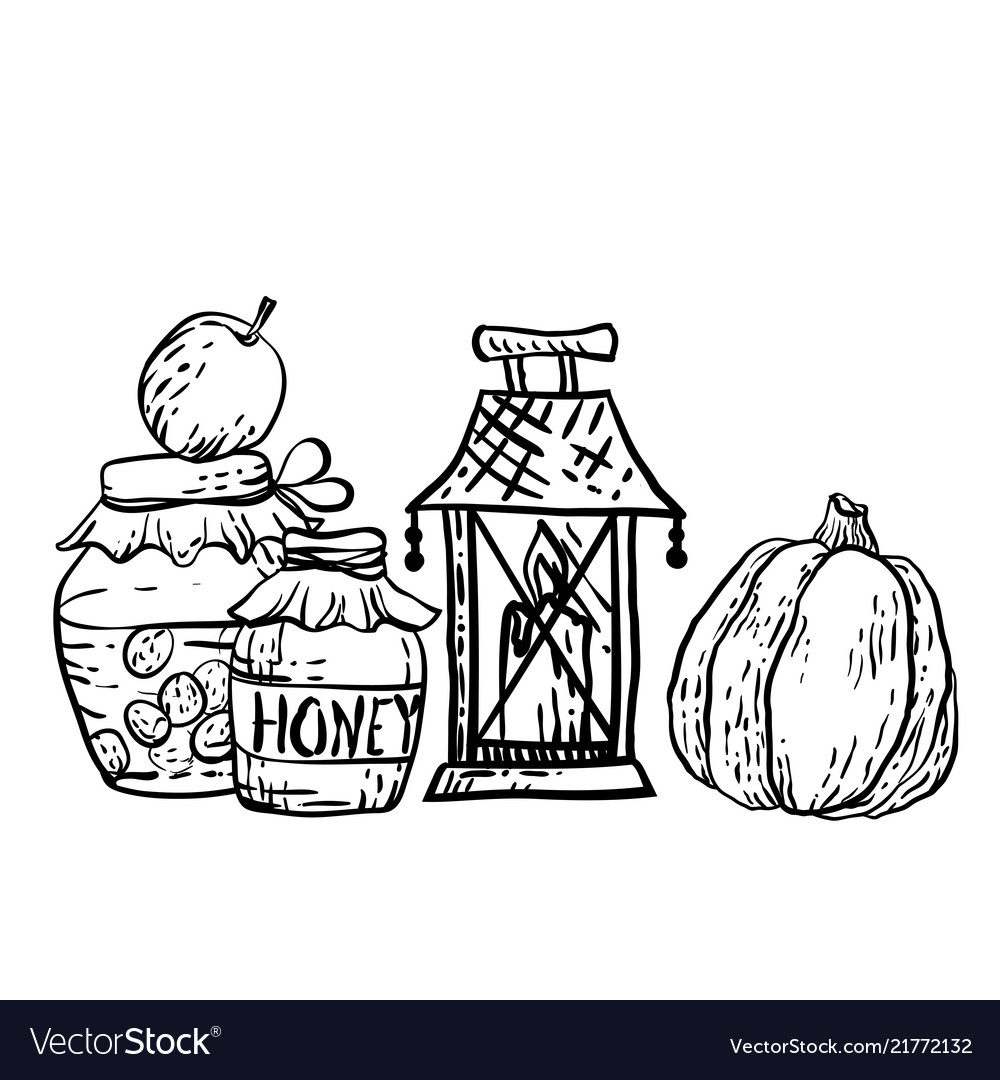 Coloring page in with household autumn elements