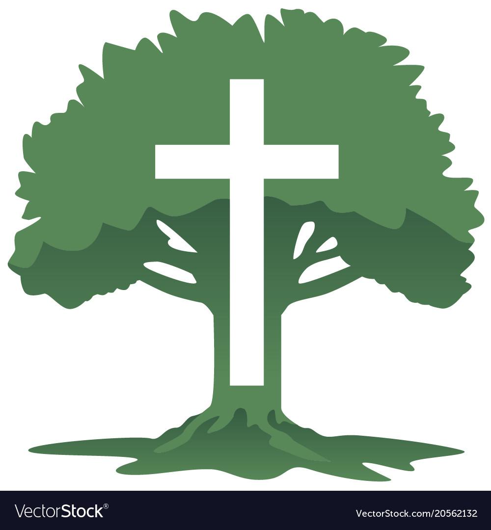 Cross and tree christian religious symbol