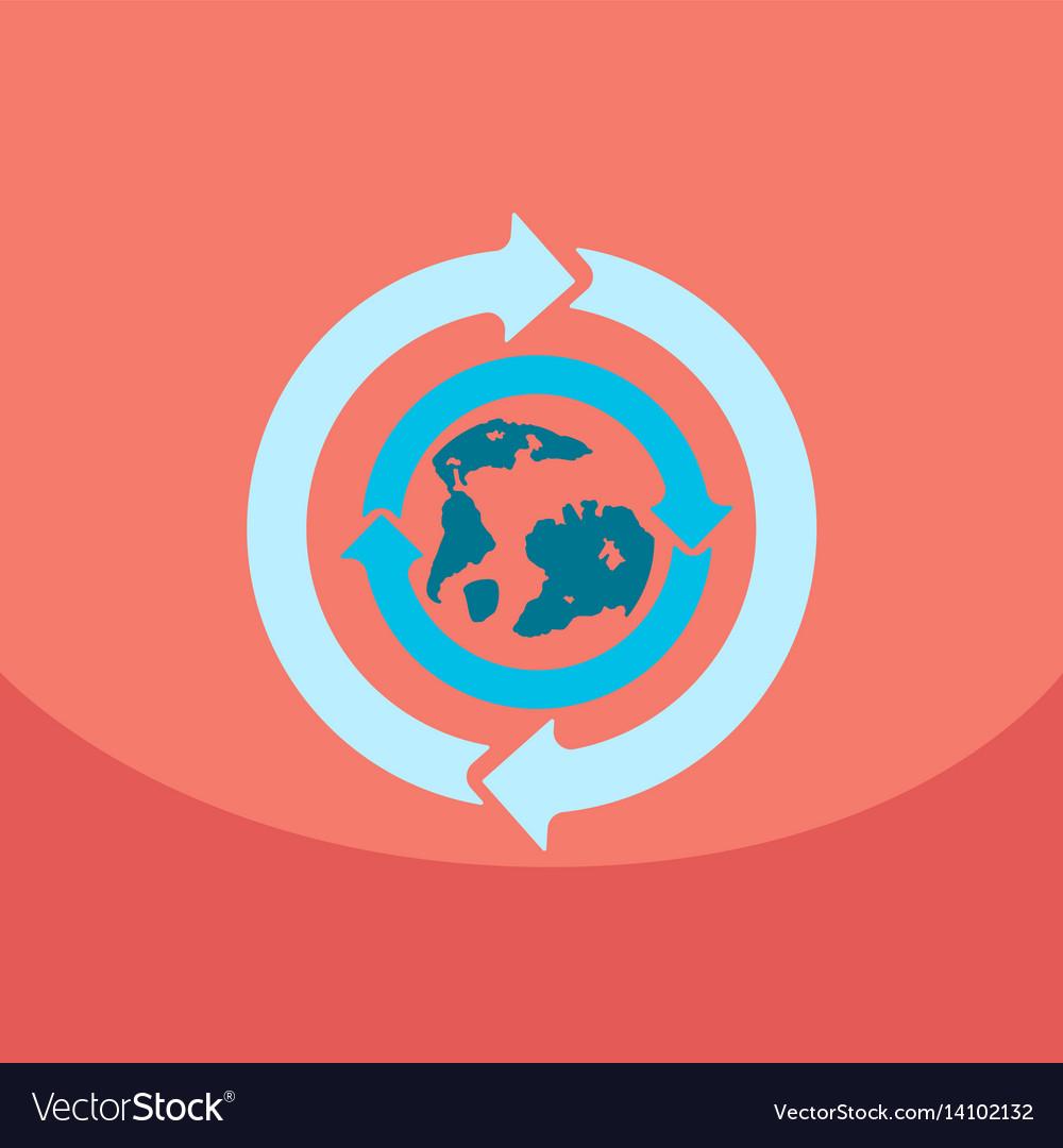 Earth with arrows in logo organic life symbol