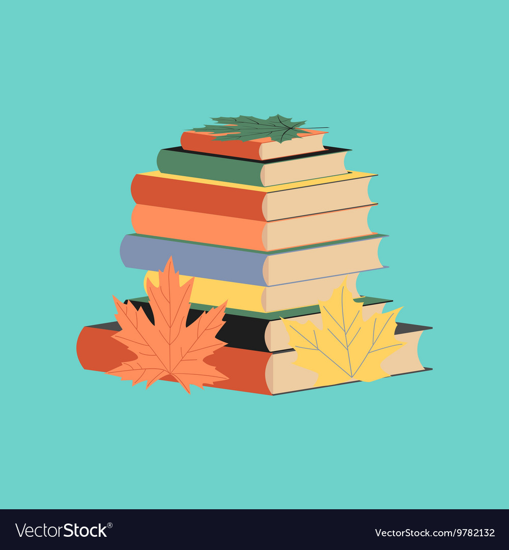 Flat icon on stylish background stack of books
