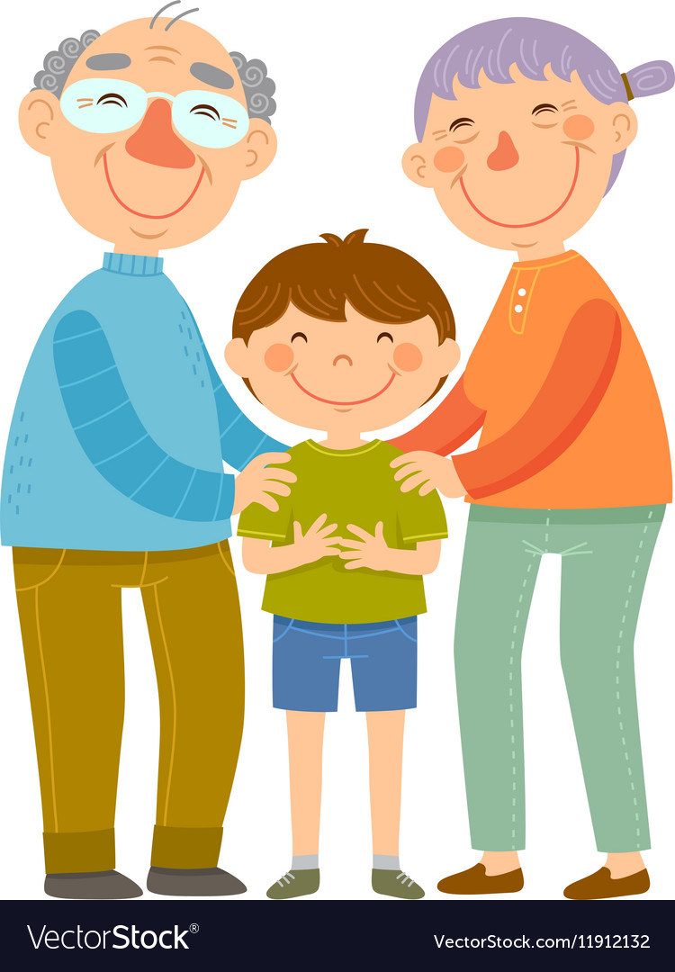 Grandparents and grandson vector image