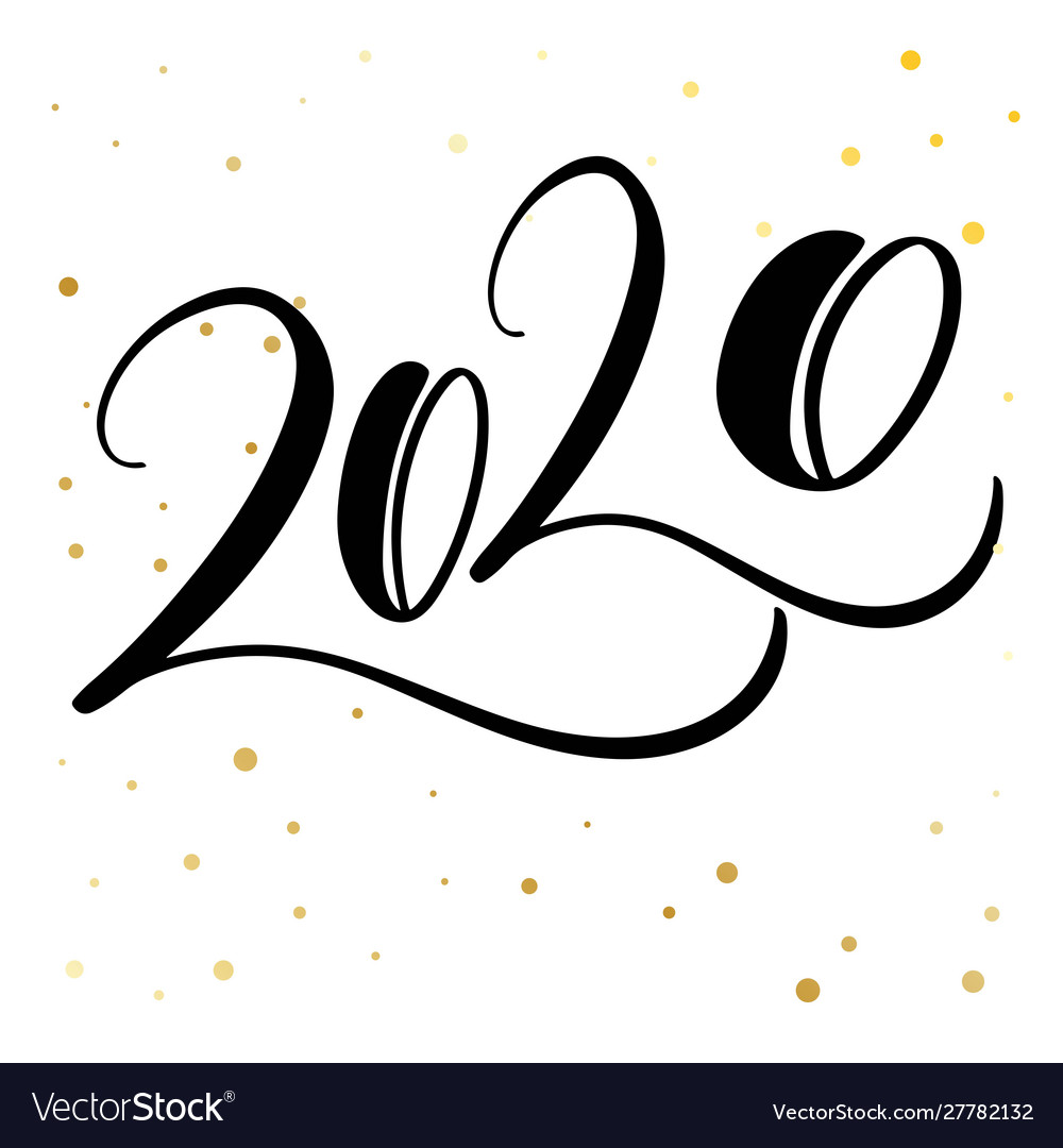 Merry Christmas Happy New Year 2020 Greeting Card Vector Image