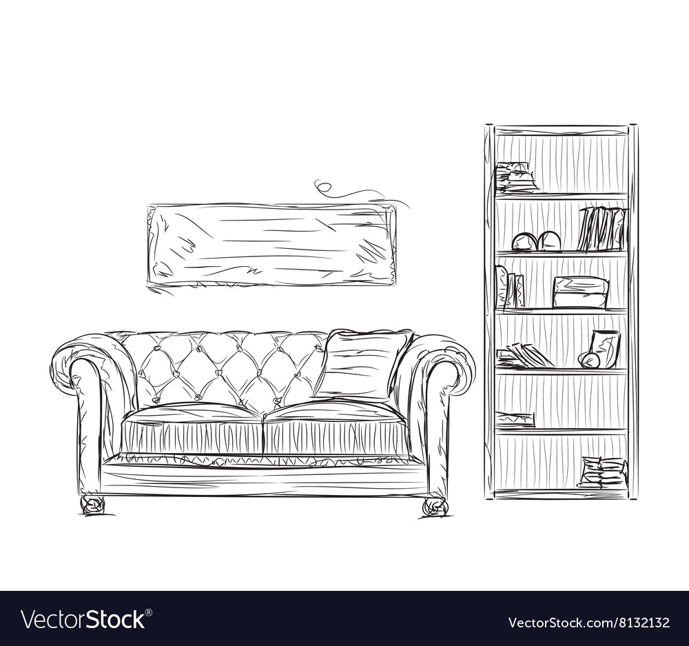 Modern furniture design sketches Drawing Vectorstock Modern Interior Room Sketch Hand Drawn Furniture Vector Image