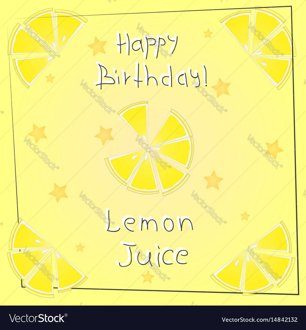 Postcard happy birthday lemon juice