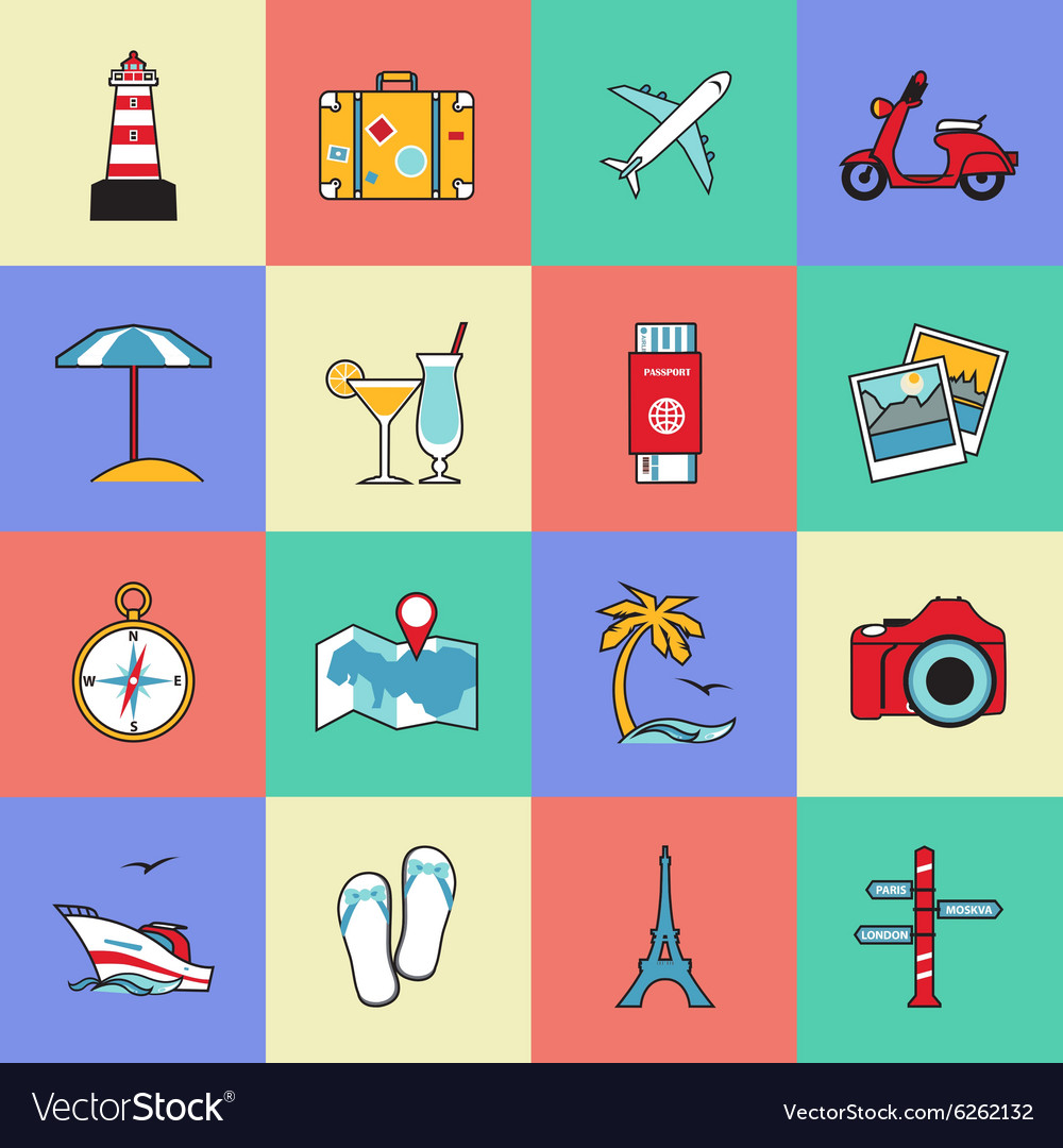 Set of travel and tourism line icons Flat style