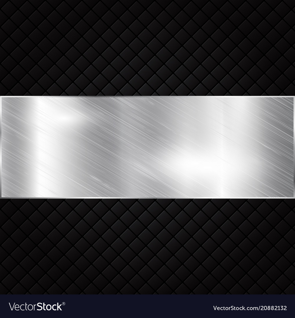 Silver metallic banner on black squares textured