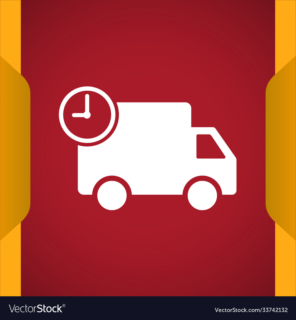 Truck with time fast delivery icon