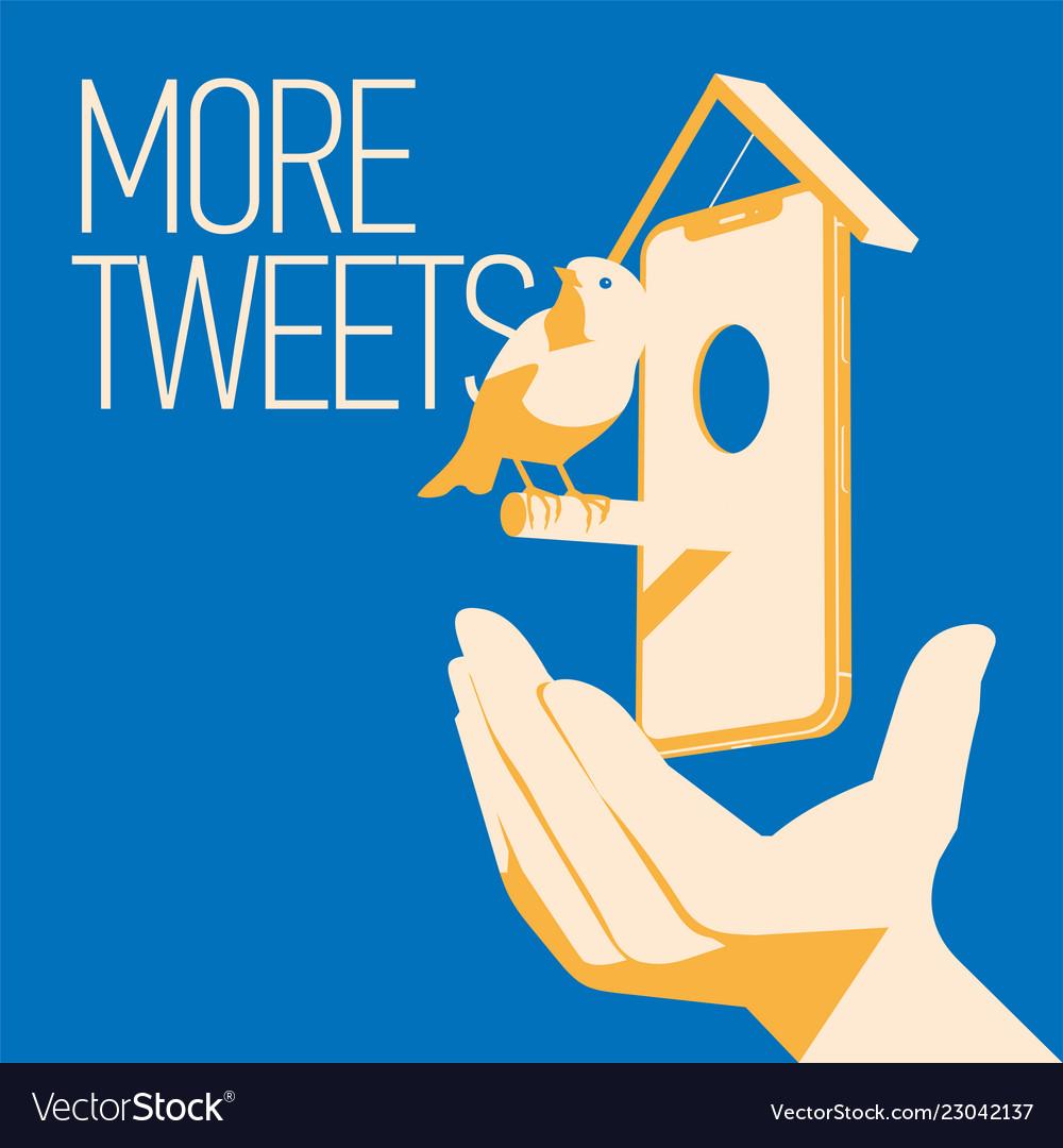 Blue bird tweet mobile devise in hand more