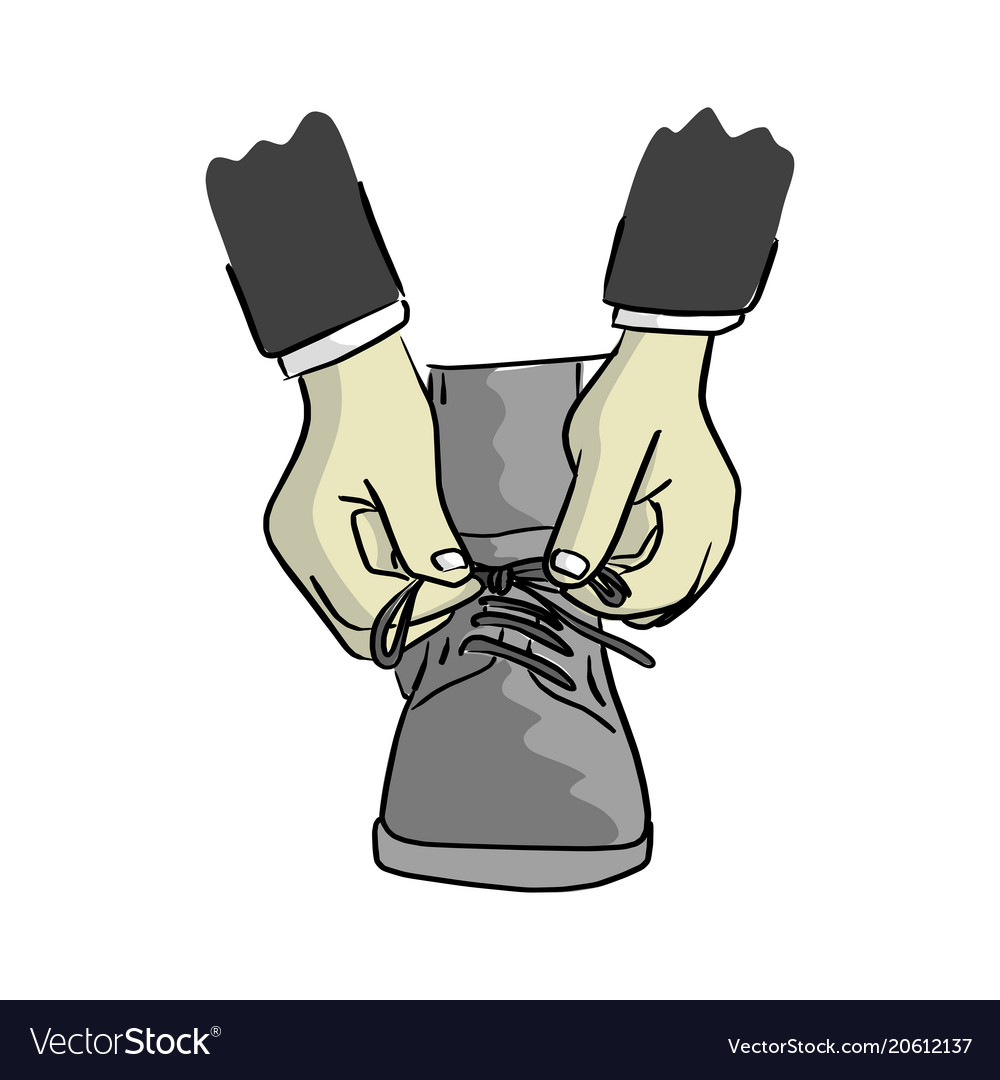 Close-up businessman ties up shoelaces vector image