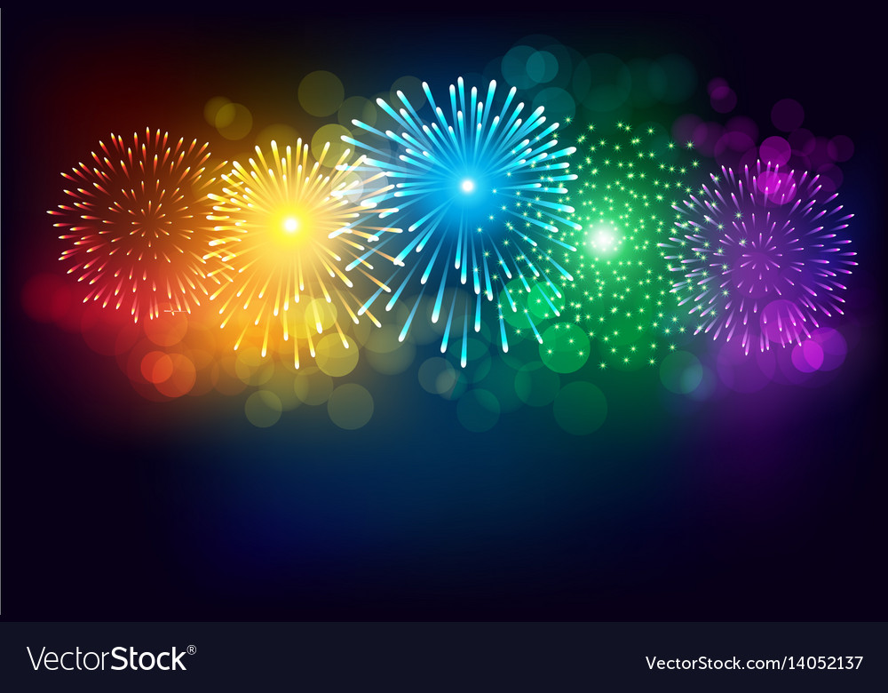 Colorful firework on black background for