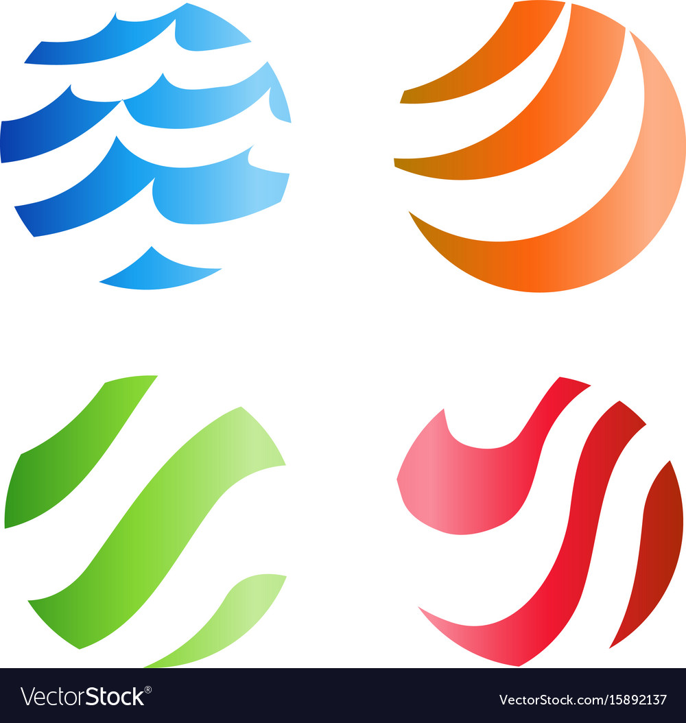 Colorful wavy stripped logo isolated abstract