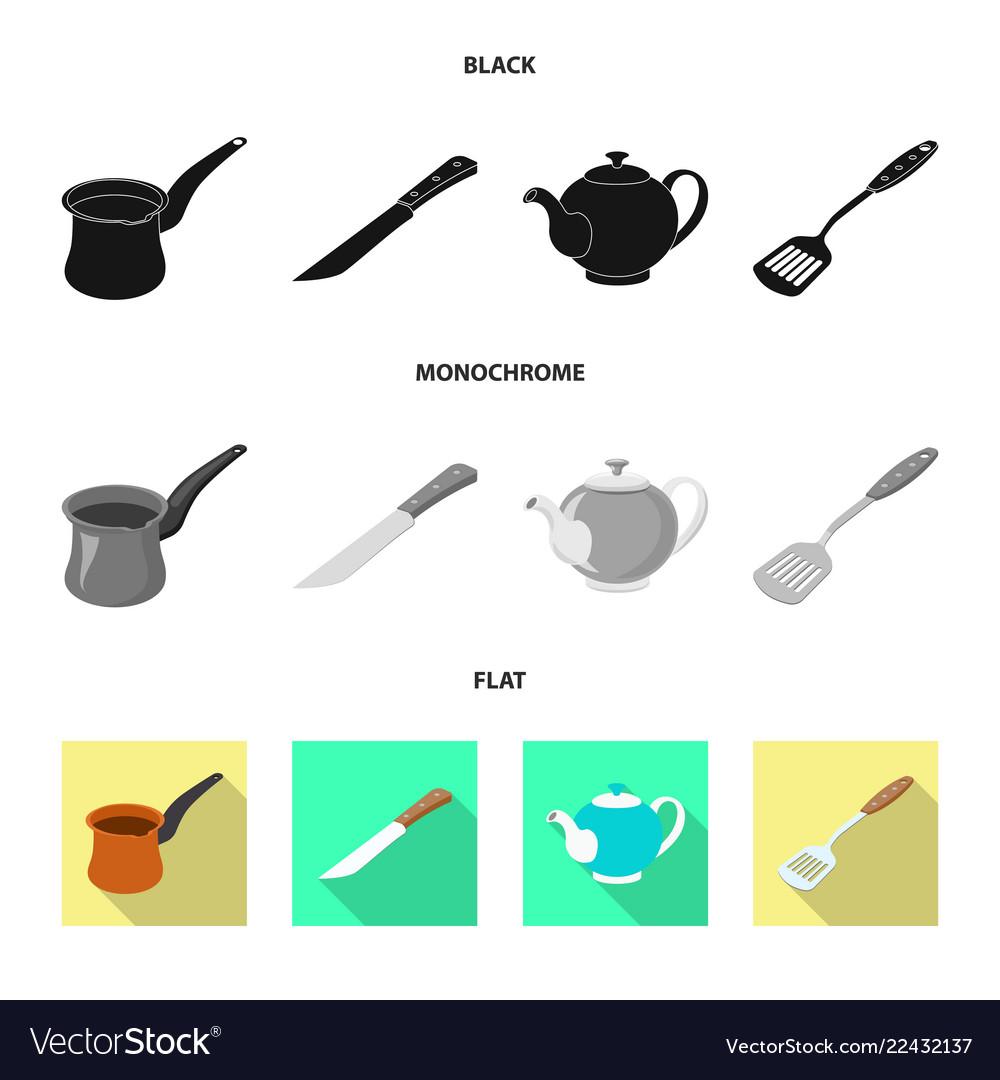 Design of kitchen and cook symbol set of