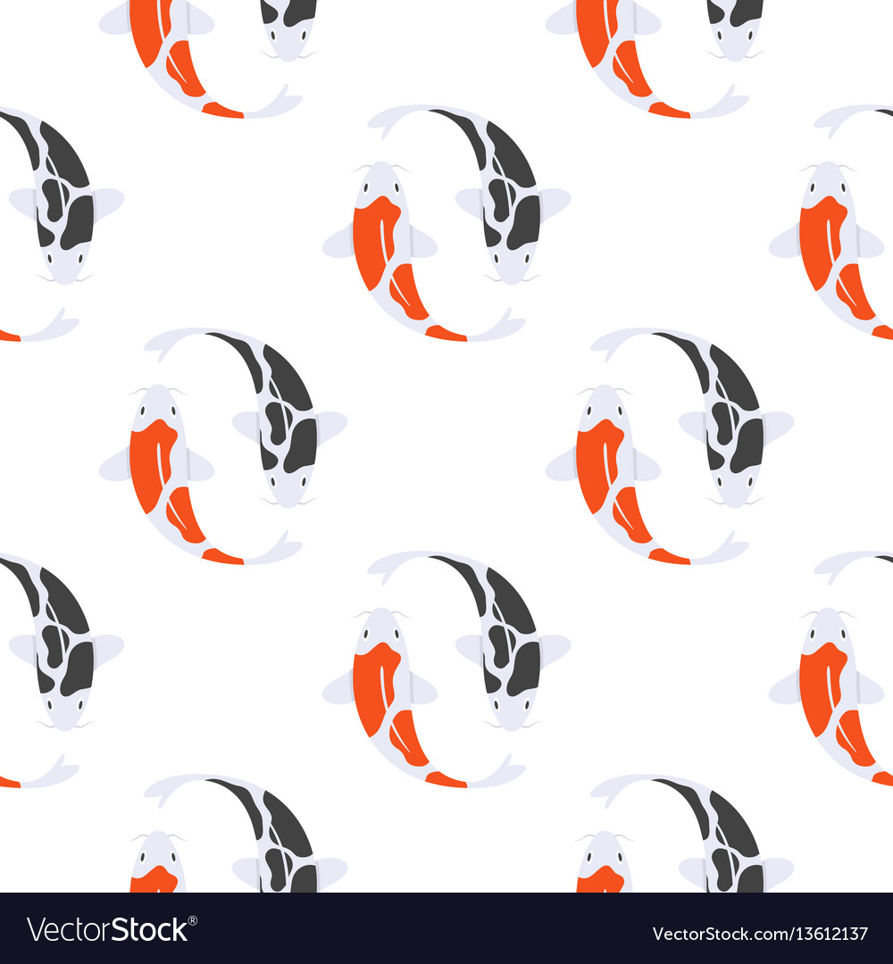 Flat style seamless pattern with japanese koi fish