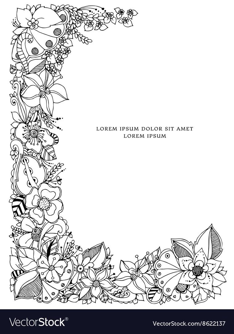 Floral frame zentangle vector image