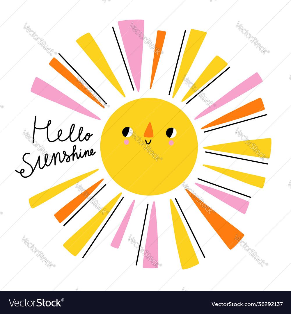 Hello sunshine lettering cartoon