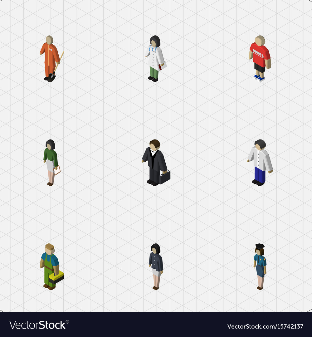 Isometric people set of male girl doctor and
