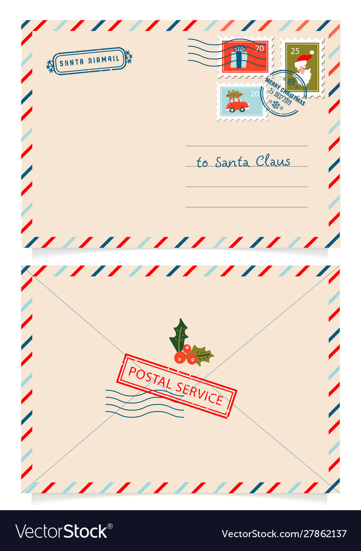 Letter to santa claus with stamps and postage